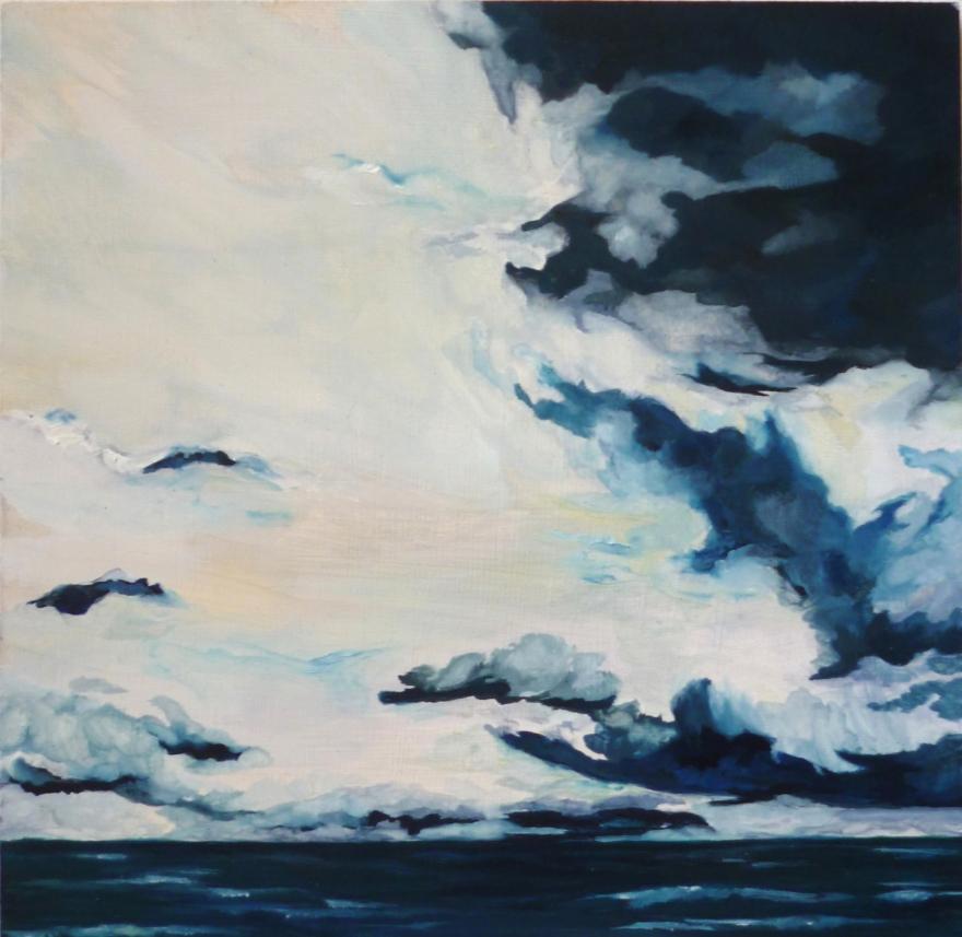 4 L'horizon bas, 22,5cmx22,2cm, huile sur bois,2017, Dain Florine